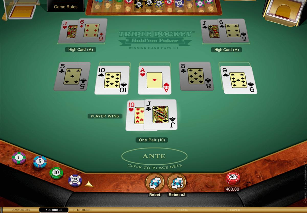 triple pocket holdem poker microgaming