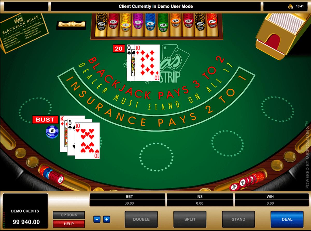 vegas strip blackjack microgaming